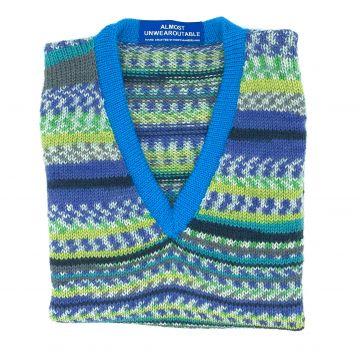 Blue green V neck 3-4 y