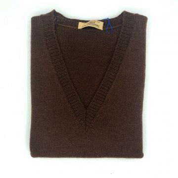 "Chocolate sleeveless V neck 34"""