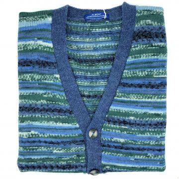 "Cloudy blue sleeveless cardigan. 43"""