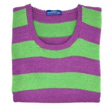 Magenta & emerald stripe sleeveless V neck 38""
