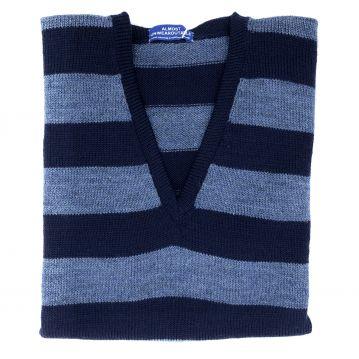 """Navy stripe sleeveless V neck 42"""""""