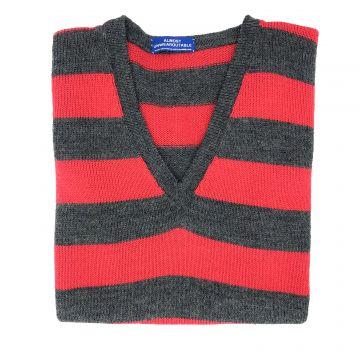 """Red & grey stripe sleeveless V neck 40"""""""