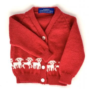 Red sheep cardigan 0-3 m