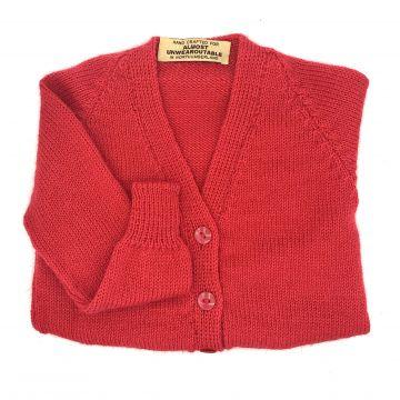 Red V neck cardigan 6-9 m