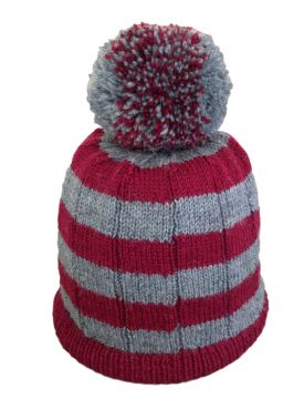Striped Pompom Hat