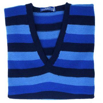 "Blue striped sleeveless V neck 39"""