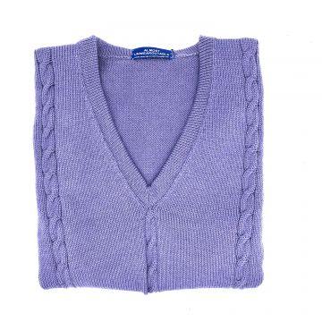 "Lilac cable sleeveless V neck 38"""