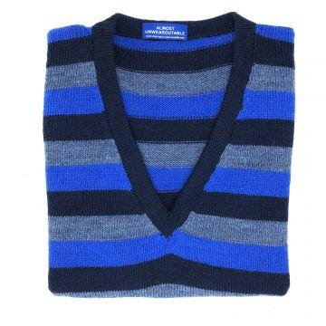 """Navy stripe sleeveless V neck 40"""""""