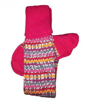Pink Stripe/Raspberry classic stockings 5-6
