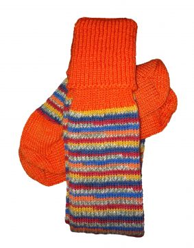 Salvador Stripe/bright orange classic stockings 5-6