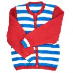 Red, turquoise & white stripe cardigan 3-4 y