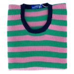 Emerald & rose stripe round neck 38""
